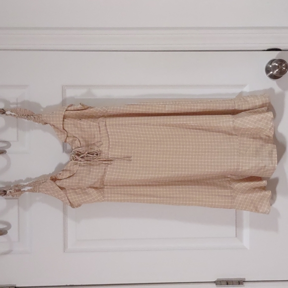 American eagle ruffle top, criss cross tie front opening mini dress small